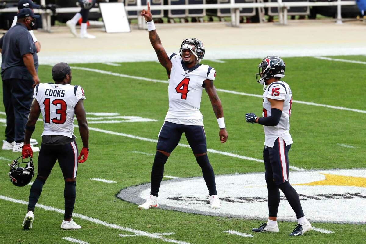 Houston Texans quarterback Deshaun Watson (4) dances at midfield before an NFL football game at Heinz Field on Sunday, Sept. 27, 2020, at Raymond James Stadium in Pittsburgh.