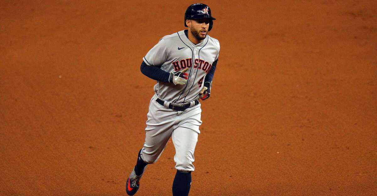 George Springer #4 of the Houston Astros runs the bases after a three-run home run in the second inning against the Texas Rangers at Globe Life Field on September 24, 2020 in Arlington, Texas. (Photo by Richard Rodriguez/Getty Images)