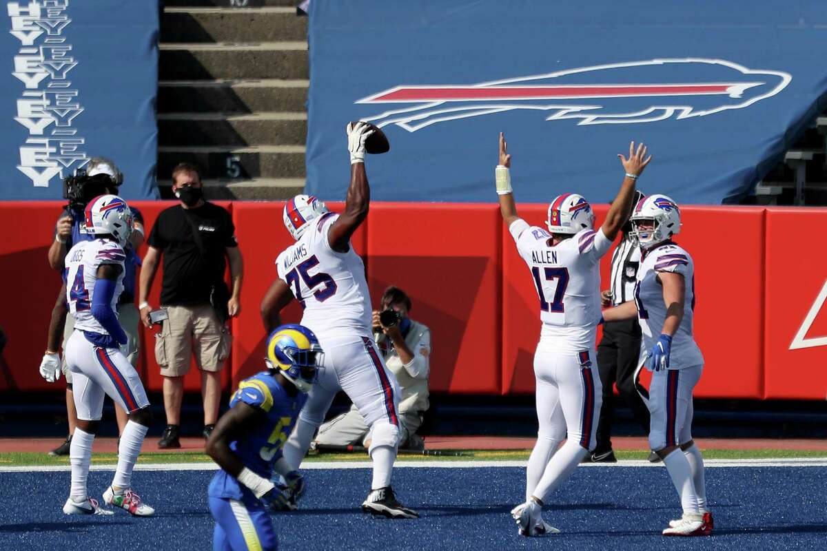 The Buffalo Bills, seen here celebrating a touchdown last Sunday against the Los Angeles Rams, will not be available on Capital Region television for a third straight Sunday when they travel to Las Vegas to face the Raiders. (Photo by Bryan M. Bennett/Getty Images)
