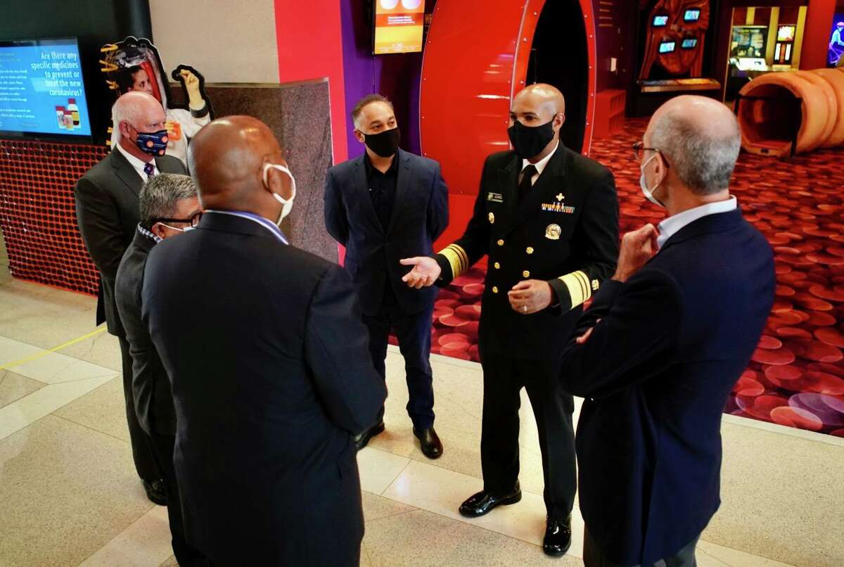 U.S. Surgeon General Jerome Adams speaks with local political and health officials at The Health Museum on Sunday, Sept. 26, 2020, in Houston.