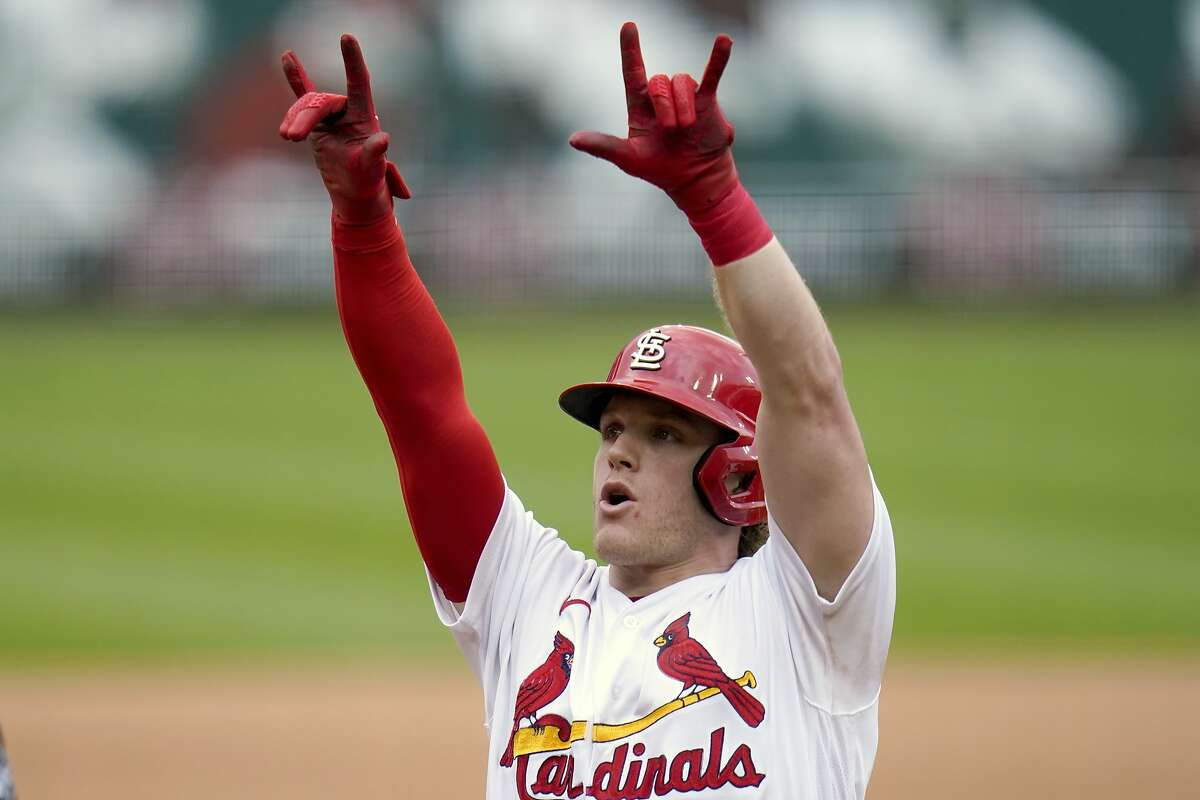 The Cardinals' Harrison Bader celebrates after hitting a solo home run during the fourth inning.