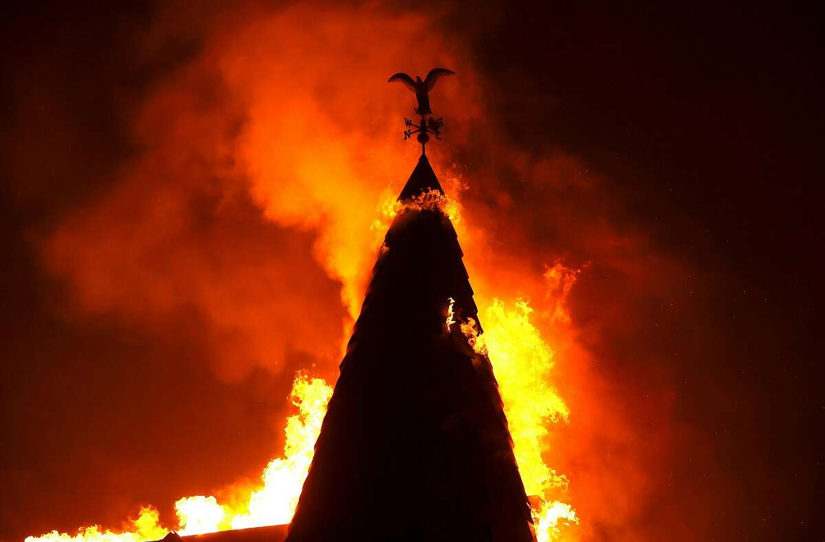 The steeple at Chateau Boswell Winery burns as the Glass Fire moves through the area on September 27, 2020 in St. Helena.