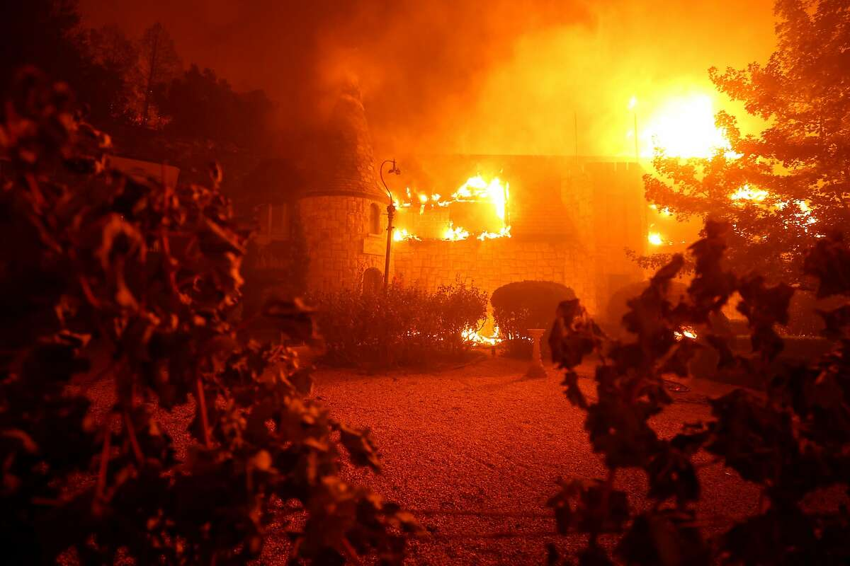 The Chateau Boswell Winery burns as the Glass Fire moves through the area on September 27, 2020, in St. Helena, Calif.