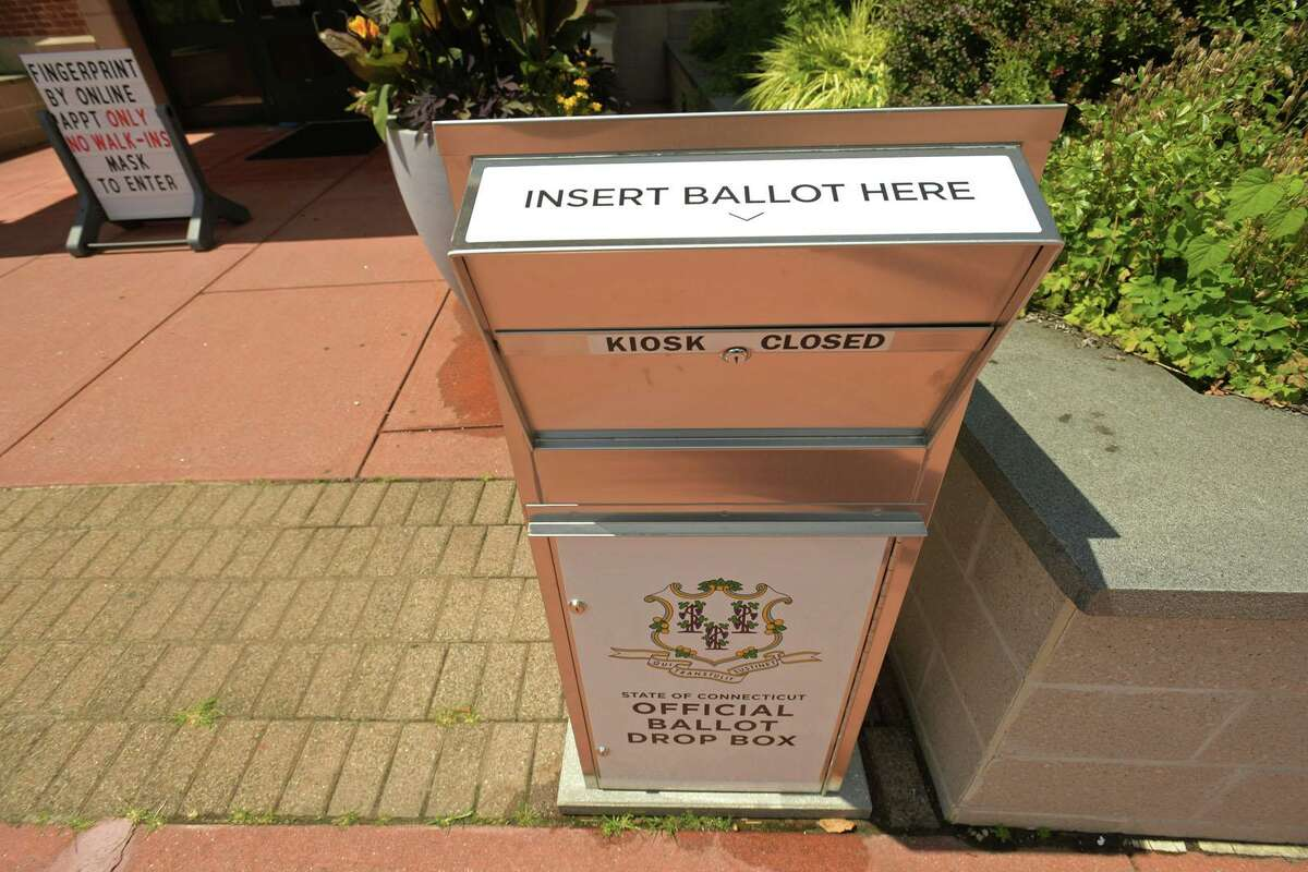 Ballot boxes have been placed in front of public buildings throughout Connecticut.