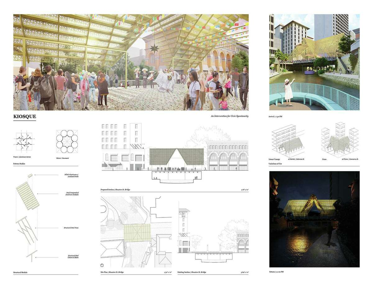 Twelvesubmissions were received for a design competition aimed at providing more shade options in downtown San Antonio.