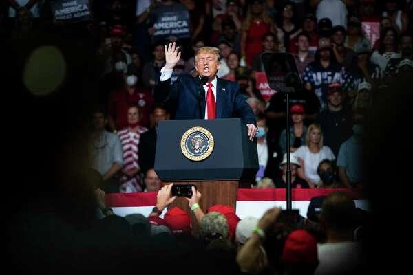 President Donald Trump at his Tulsa rally on June 20.