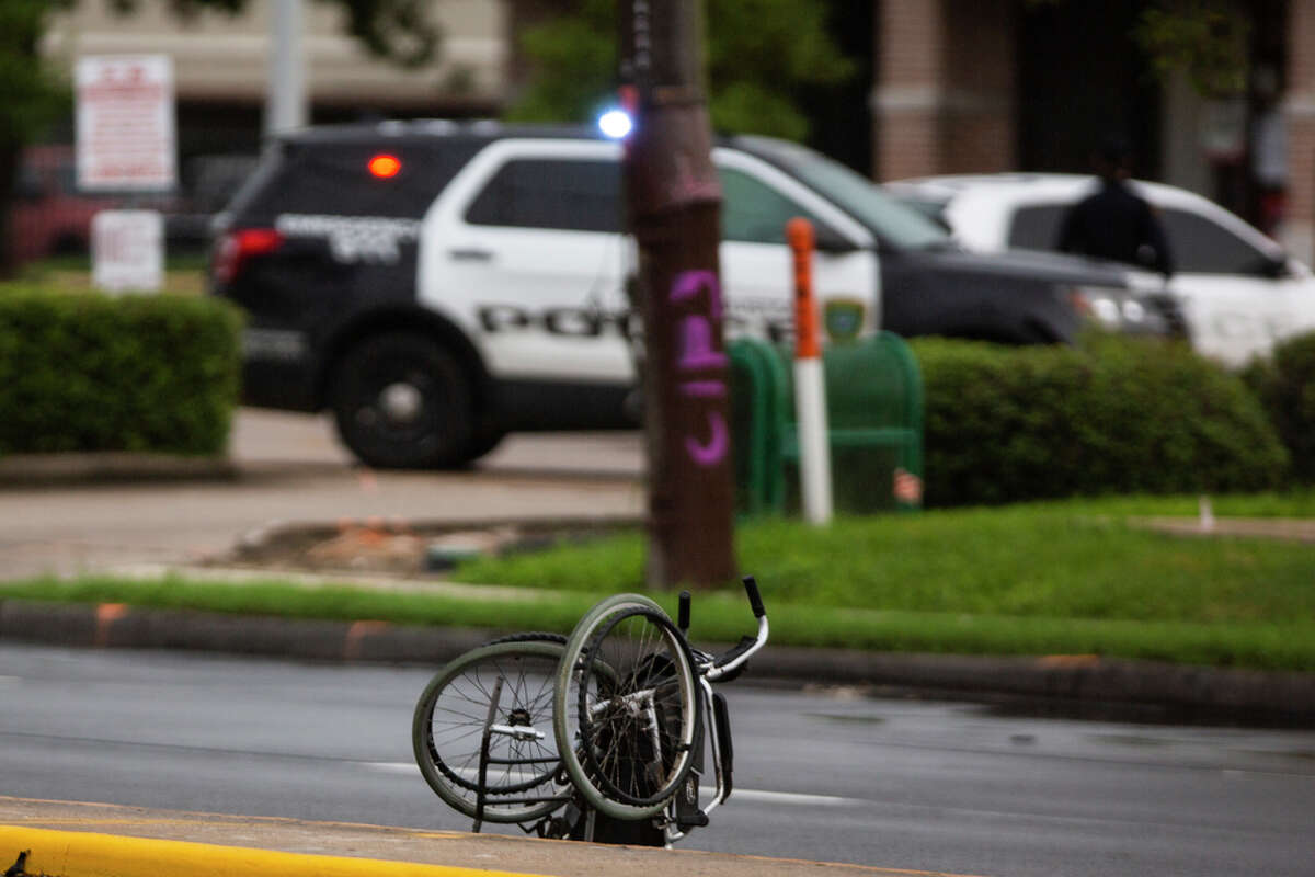 Wheelchair of a victim of a fatal crash on the intersection of Dunlave and Westheimer Road Monday, Sept. 28, 2020, in Houston.