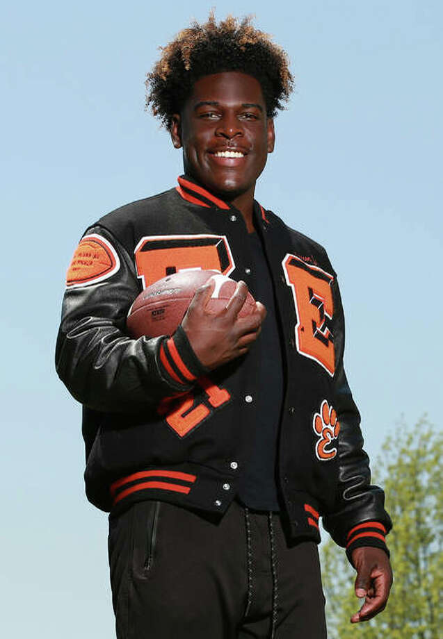 Edwardsville's Justin Johnson, a 2019 Telegraph Player of the Year, committed Sunday to play college football at West Virginia.