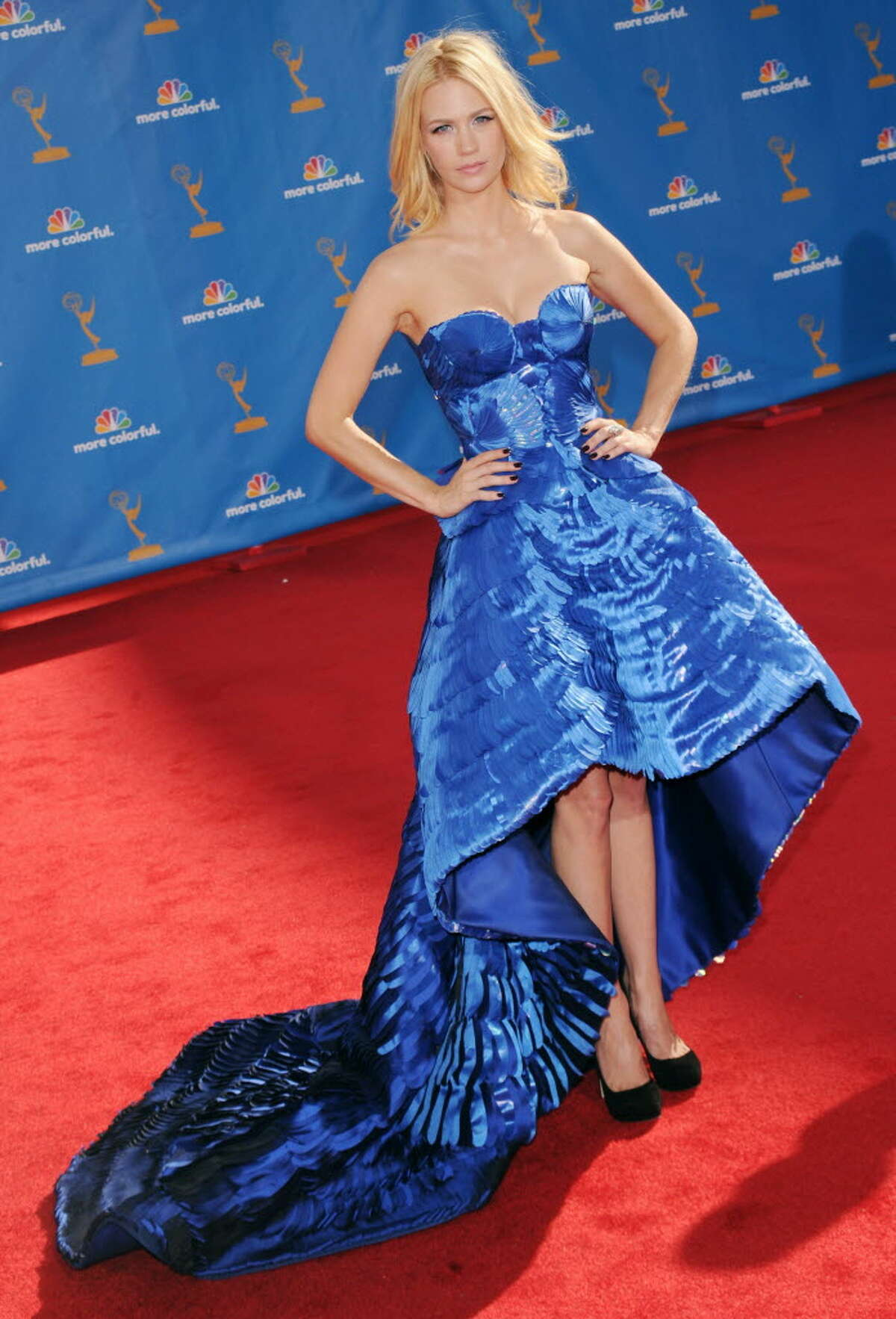 Actress January Jones arrives at the 62nd Annual Primetime Emmy Awards held at the Nokia Theatre L.A. Live on August 29, 2010 in Los Angeles, California. (Photo by Jason Merritt/Getty Images)