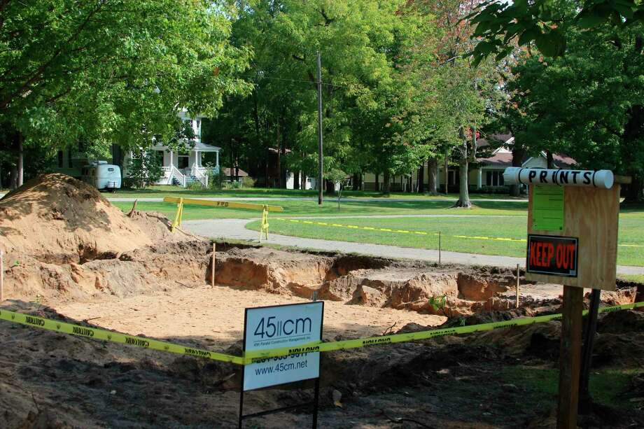 Ground was broken recently on new bathroom facilities at Market Square Park in Frankfort. (Photo/Colin Merry)