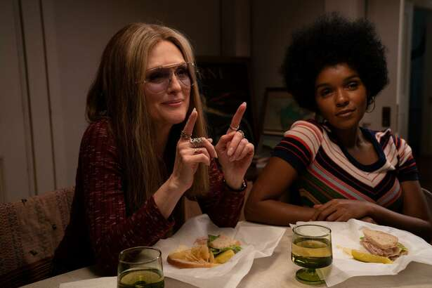 "Julianne Moore (as Gloria Steinem) and Janelle Mona´e (as Dorothy Pitman Hughes) in the new movie ""The Glorias,"" directed by Julie Taymor."