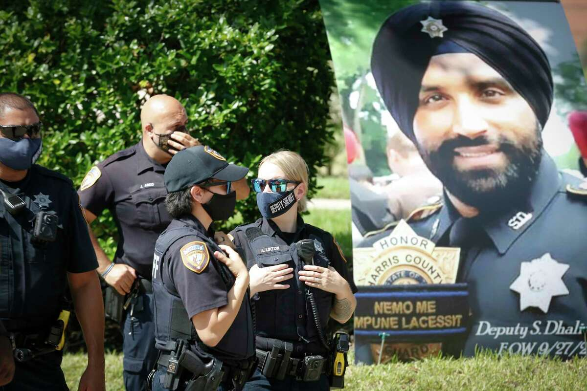 Harris County Sheriff's Office and community paid tribute to fallen Deputy Sandeep Singh Dhaliwal on the first anniversary of his death Sunday, Sept. 27, 2020, in Houston.