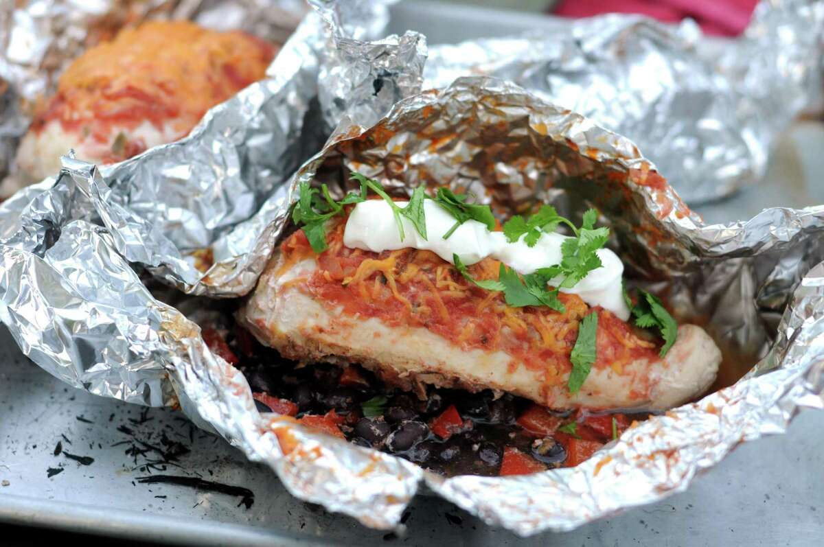 Fire Pit Chicken and Bean Foil Packets