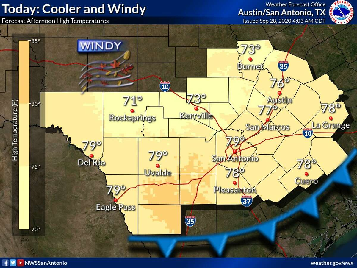 Temperatures are expected to warm up later this week after a cool front arrived in the San Antonio area Monday, the National Weather Service said.