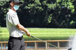 Edwardsville senior Hayden Moore sits in first place entering the second round of the SWC Tournament on Tuesday.