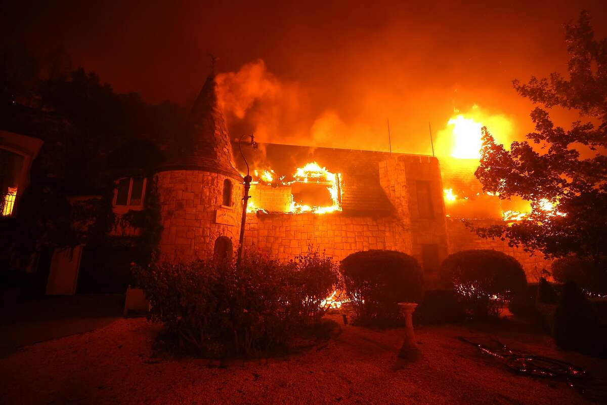 ST. HELENA, CALIFORNIA - SEPTEMBER 27: The Chateau Boswell Winery burns as the Glass Fire moves through the area on September 27, 2020 in St. Helena, California. The fast moving Glass fire has burned over 1,500 acres and has destroyed homes. Much of Northern California is under a red flag warning for high fire danger through Monday evening. (Photo by Justin Sullivan/Getty Images) ***BESTPIX***