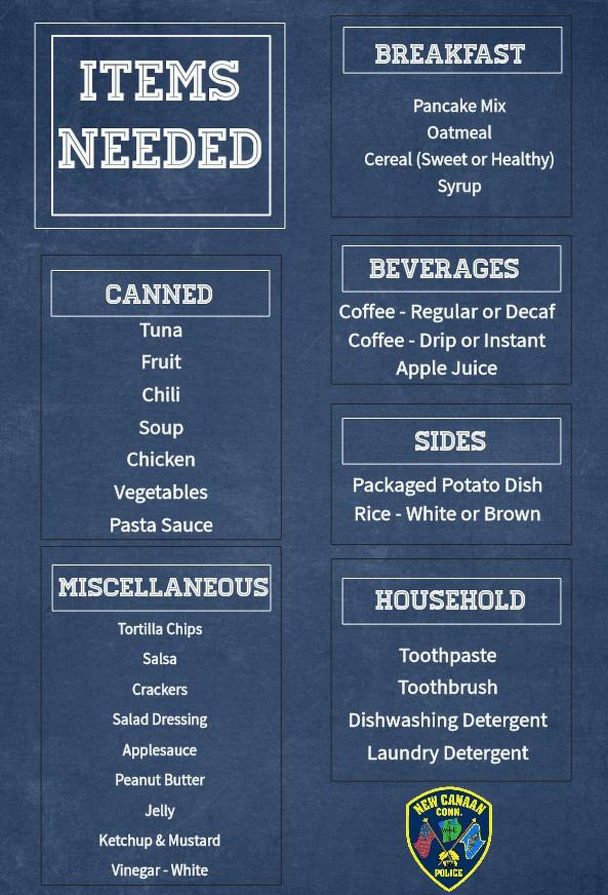 The New Canaan Police Department is hosting a food drive to benefit the New Canaan Food Pantry Sunday, Oct. 4, from 9 a.m.-1 p.m., at Acme Market, 288 Elm St., New Canaan.