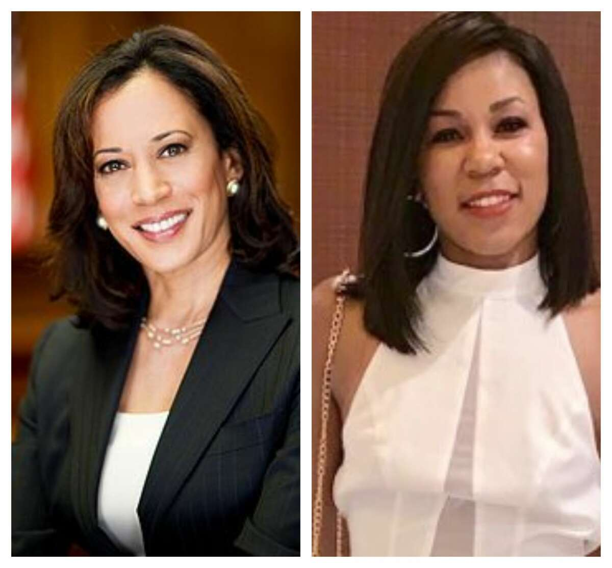 """A 33-year-old Houston woman, Cynthia Anne, at right, is getting a """"Kamala Makeover"""" to look like Democratic Vice Presidential nominee Kamala Harris. The surgery will be done by Dr. Franklin Rose and Utopia Plastic Surgery and MedSpa."""