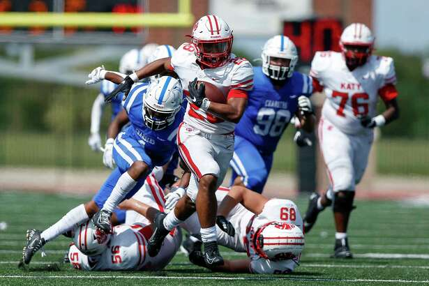 Katy Tigers Jalen Davis (28) rushes for a touchdown during the second half of the high school football game between the between the Katy Tigers and the Clear Springs Chargers at Challenger Columbia Stadium in Webster, TX on Saturday, September 26, 2020. The Tigers defeated the Chargers 28-13.