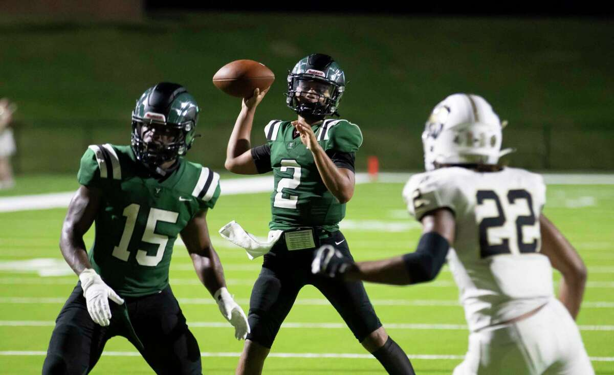 Mayde Creek quarterback Jace Wilson (2) throws the ball during the third quarter of a non-district football game against Conroe at Rhodes Stadium in Katy, Friday, Sept. 25, 2020.