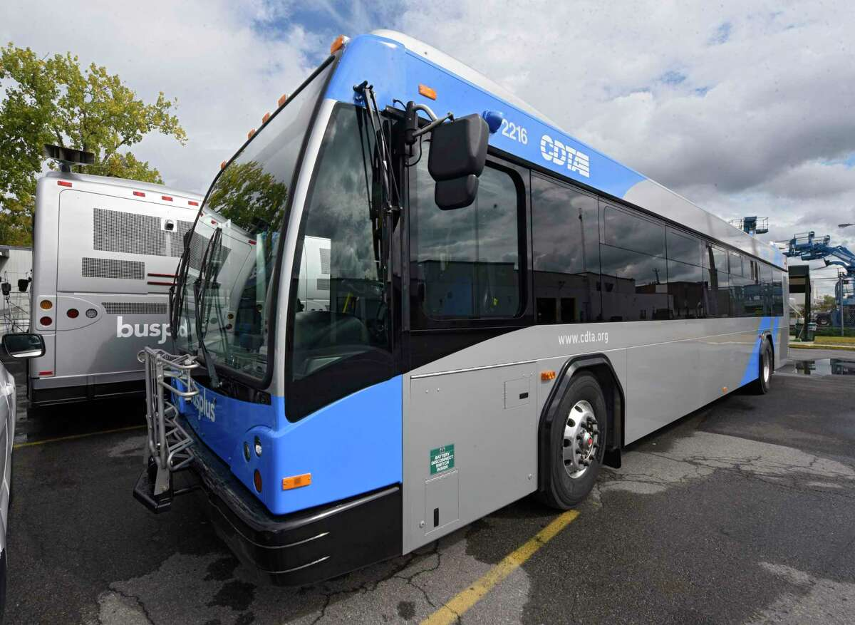 New buses for the CDTA Blue Line Bus Rapid Transit route are seen parked outside the CDTA bus garage on Monday, Sept. 28, 2020 in Albany, N.Y. (Lori Van Buren/Times Union)
