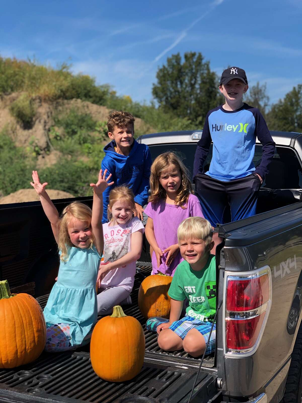 At Constantines Farm in Colonie, cousins Griffin, Ryan, MaryKate,Gracie, Annabel and Bennett having a nice fall day picking pumpkins. (photo provided by Steve Layne)