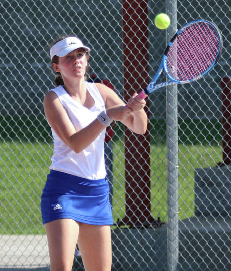 Roxana's Lindsey Ratliff has a record of 10-4 at No. 2 singles this season. She is shown in action at the Andy Simpson Tourney at AHS earlier this season. Photo: Greg Shashack | The Telegraph