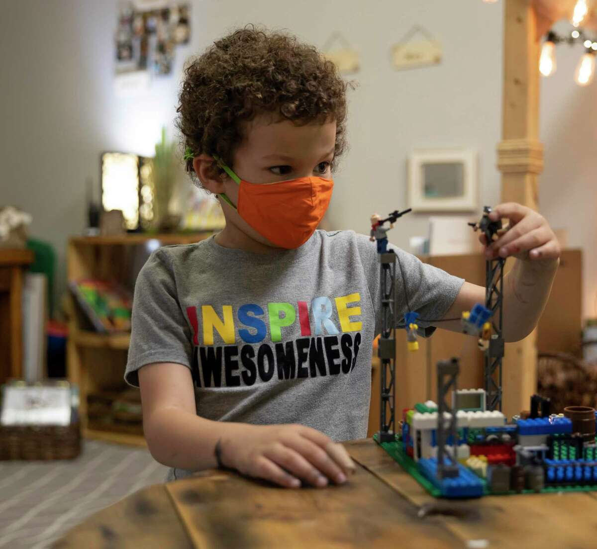 Cormac plays with a set of building blocks at the Discovery School of Innovation in The Woodlands, Thursday, Sept. 24, 2020. The new school opened this year and plans to expand enrollment in the future.