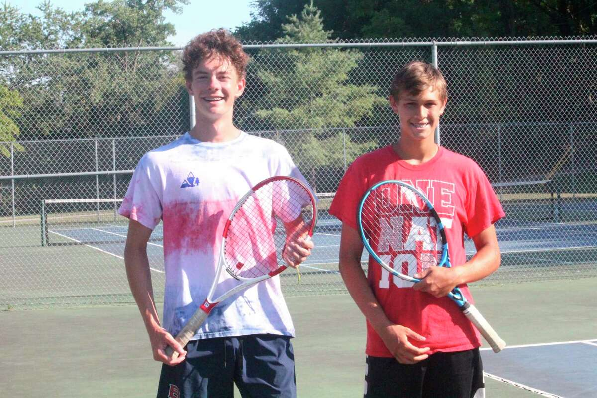 Big Rapids' Owen Bomay (left) and Nate Sanders were first at No. 1 doubles at the Coopersville quad on Saturday. (Pioneer file photo)