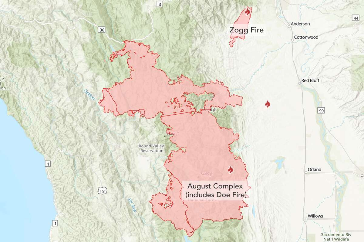 A Cal Fire map shows the proximity of the August Complex Fire and the Zogg Fire as of Monday, Sept. 28, 2020.