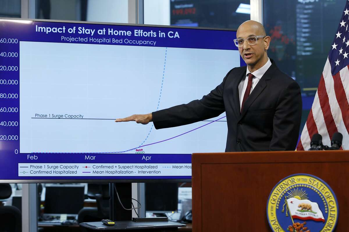 FILE - In this April 1, 2020, file photo, Dr. Mark Ghaly, secretary of the California Health and Human Services, gestures to a chart showing the impact of the mandatory stay-at-home orders, during a news conference in Rancho Cordova, Calif. Dr. Ghaly urged state residents to renew their efforts to prevent spread of the coronavirus amid some troubling trends, Friday, Sept. 25, 2020. Ghaly said infection rates are rising in some areas and one state model projects hospitalizations, now at their lowest level since early April, could increase nearly 90% in the next month. (AP Photo/Rich Pedroncelli, Pool, File)