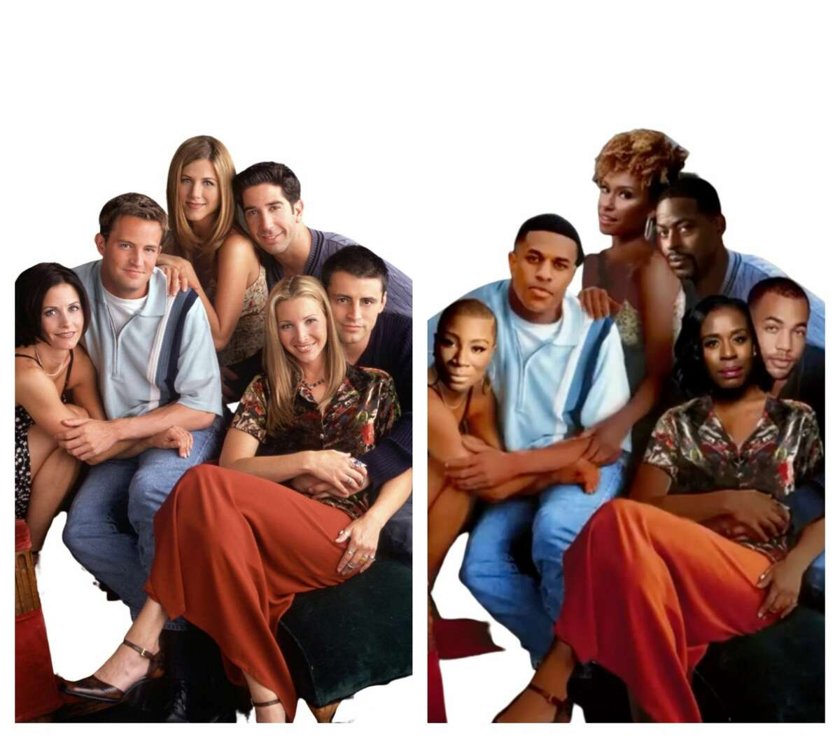 """At left, the original cast of """"Friends"""" and, at right, the all-Black """"Friends"""" Table Read hosted by Gabrielle Union."""