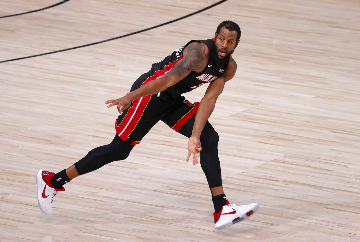 Andre Iguodala of the Miami Heat reacts to a three-point basket during the third quarter against the Boston Celtics in Game Six of the Eastern Conference Finals on Sept. 27 during the 2020 NBA Playoffs at AdventHealth Arena at the ESPN Wide World Of Sports Complex.