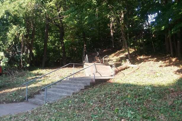 """Ansonia's East Main Street staircase - also known as the Ansonia Cliff Walk and the Library Stairs - constructed some 150 years ago, has received a significant sprucing up and more repairs are on the way as part of Mayor David Cassetti's ongoing """"Clean Up & Green Up"""" initiative."""