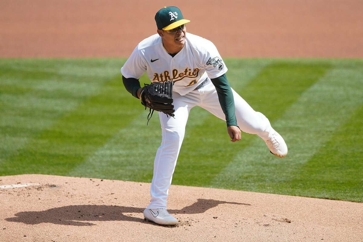 A's starter Jesús Luzardo made nine starts this season, going 3-2 with a 4.12 ERA. He struck out a batter per inning.