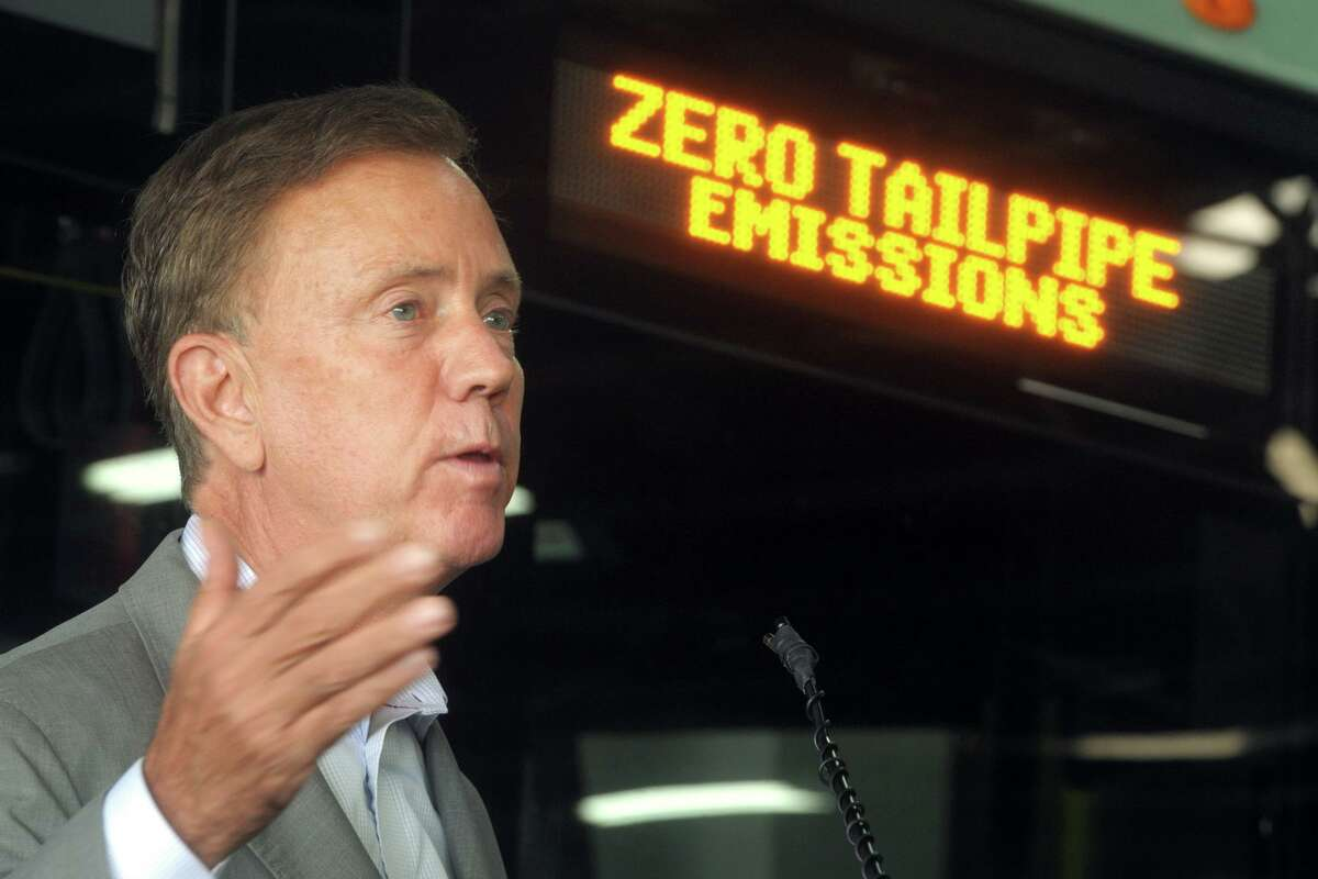 Gov. Ned Lamont in late September 2020 at a press conference to reveal battery-electric buses entering service in Bridgeport, Conn. On Thursday, Oct. 15, 2020, Lamont announced a joint push with four other states in the region to overhaul the wholesale electricity market run by ISO New England.