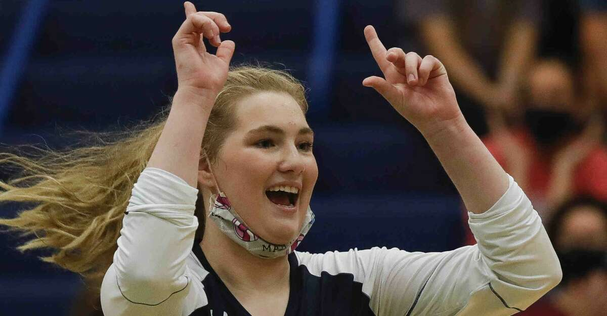 College Park's Paige Bernstein (15) reacts after a point during the first set of a non-district high school volleyball match at College Park High School, Saturday, Sept. 26, 2020, in The Woodlands.