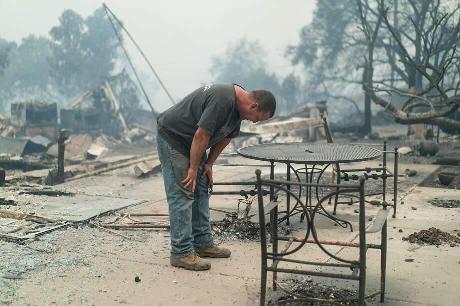 Kevin Sanford is wondering why they were given very little notice to evacuate on Monday, Sept. 28, 2020 in Santa Rosa, Calif. He, his wife and daughter, lost his entire home and garage. Photo: Paul Kuroda, Special To The Chronicle