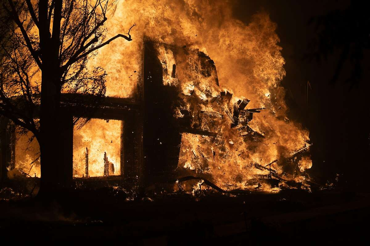 A farm house burns in the Glass fire on Monday, Sept. 28, 2020 in Santa Rosa, Calif.