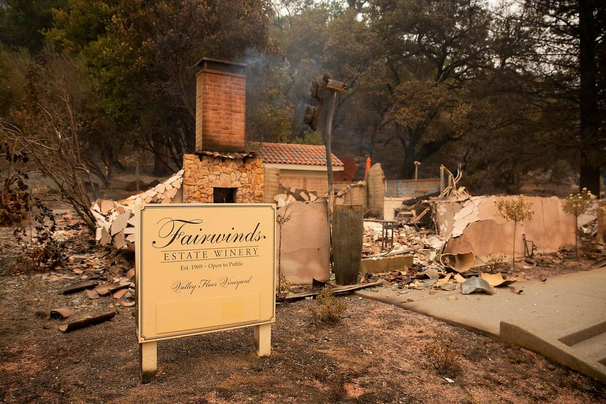 Charred remains are all that is left of one of several buildings at Fairwinds Estate Winery during the Glass Fire in Calistoga, Calif. on Monday morning, Sept. 28, 2020.