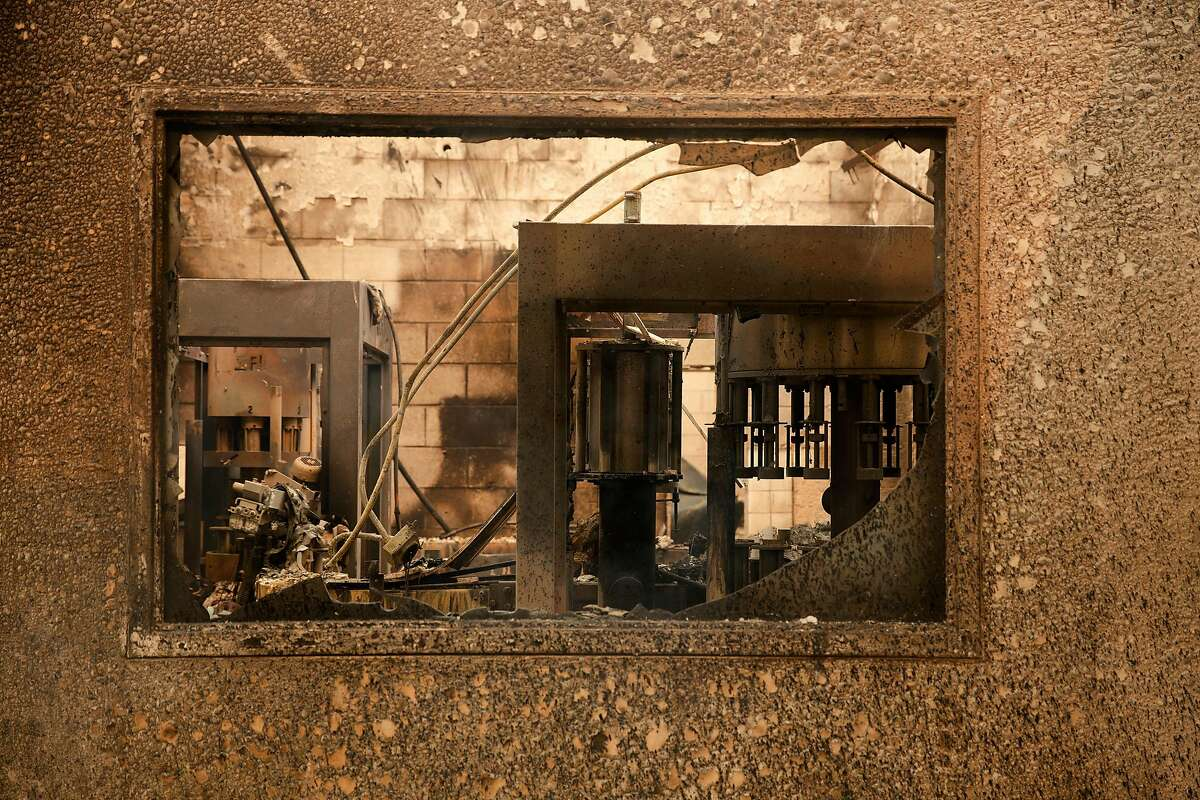 Charred remains are all that is left of one the bottling room at Fairwinds Estate Winery during the Glass Fire in Calistoga, Calif. on Monday morning, Sept. 28, 2020.