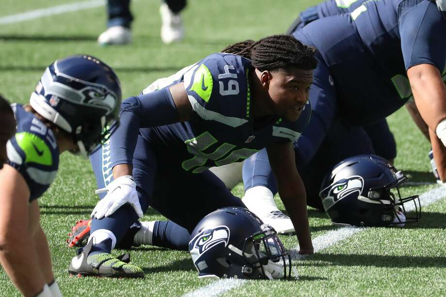 SEATTLE, WASHINGTON - SEPTEMBER 27: Shaquem Griffin #49 of the Seattle Seahawks looks on before their game against the Dallas Cowboys at CenturyLink Field on September 27, 2020 in Seattle, Washington. (Photo by Abbie Parr/Getty Images) Photo: Abbie Parr/Getty Images / 2020 Abbie Parr