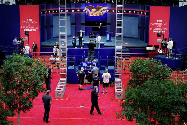 The stage is built and technology tested for Tuesday night's first presidential debate between President Donald Trump and former vice president Joe Biden at Case Western Reserve University in Cleveland.