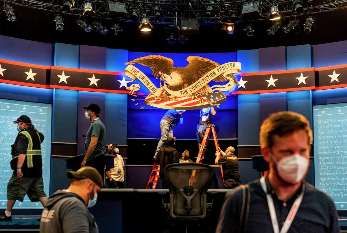 The stage is built and technology tested for Tuesday's first debate between President Donald Trump and former vice president Joe Biden at Case Western Reserve University in Cleveland.