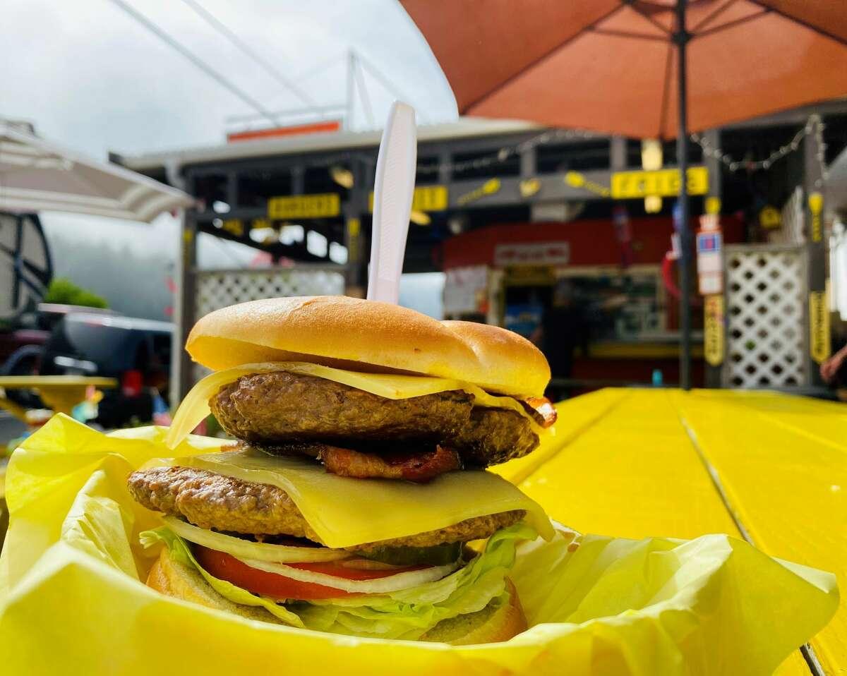 The Great Hunter burger has two elk patties. In other words, Ashley Harrell, 2. Elk, 0.