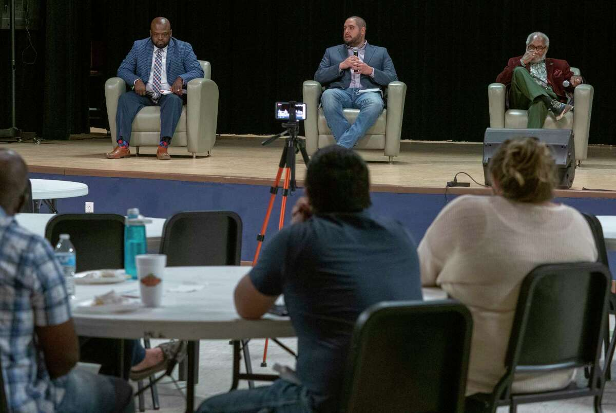 Michael Booker, Matt Galindo and James Fuller participate 09/28/2020 in a candidate forum for MISD District 1 school board seat. Tim Fischer/Reporter-Telegram