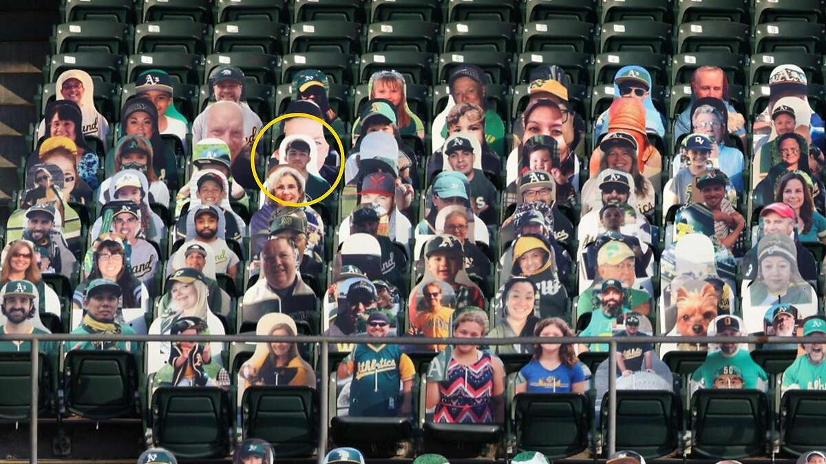 The cardboard cutout featuring Joaquin Oliver (in yellow circle) appeared in 15 major-league ballparks this season, including the Coliseum in Oakland and Oracle Park in San Francisco.