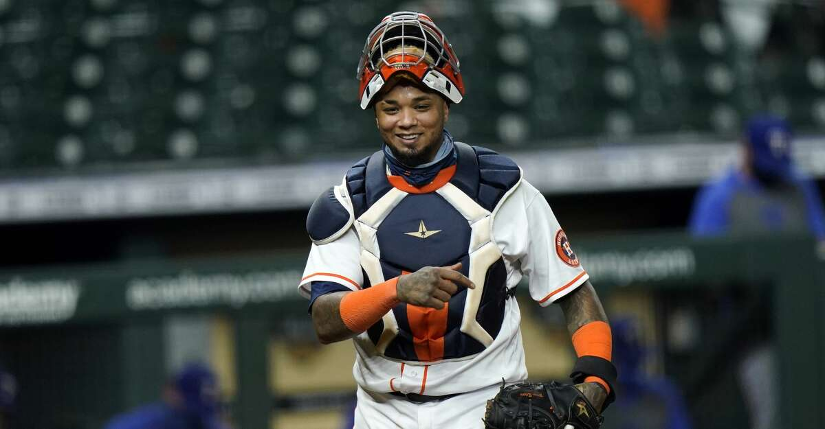 Houston Astros catcher Martin Maldonado walks back to the dugout during the fifth inning of a baseball game against the Texas Rangers Tuesday, Sept. 15, 2020, in Houston. (AP Photo/David J. Phillip)