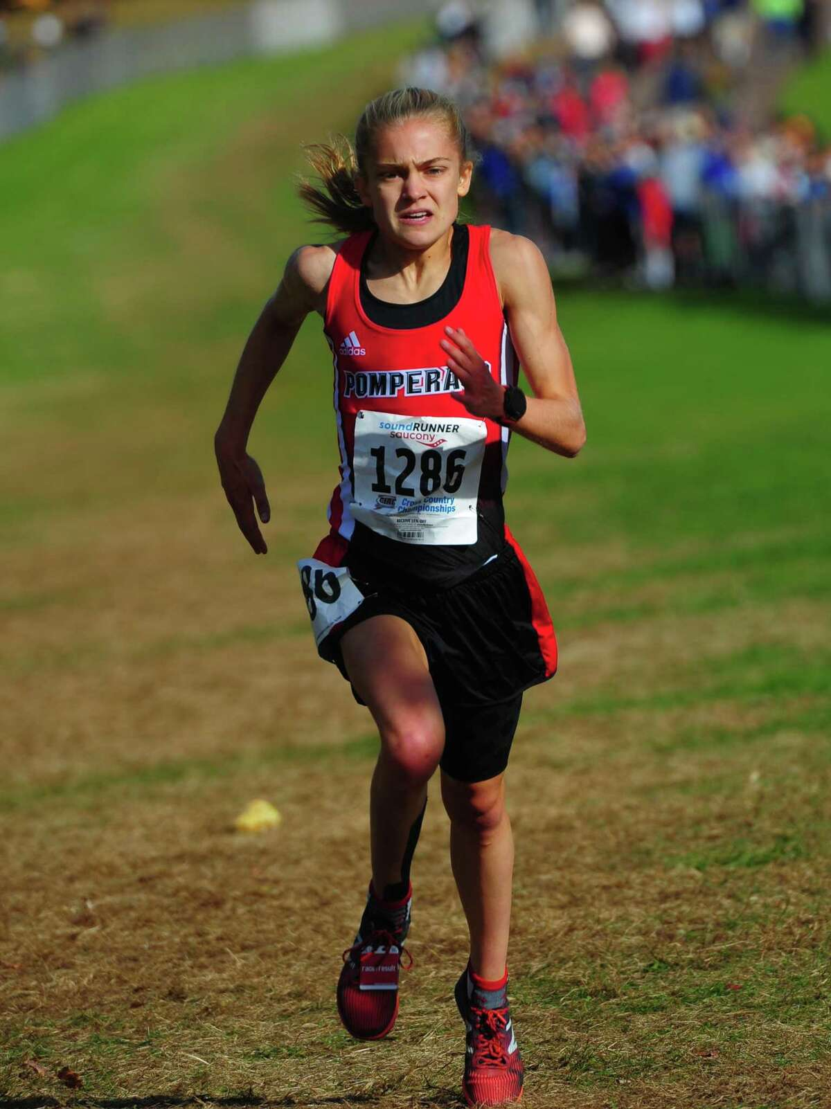 Pomperaug's Kate Wiser crosses the finish line for a course record during the Class L cross country championships on Oct. 26.