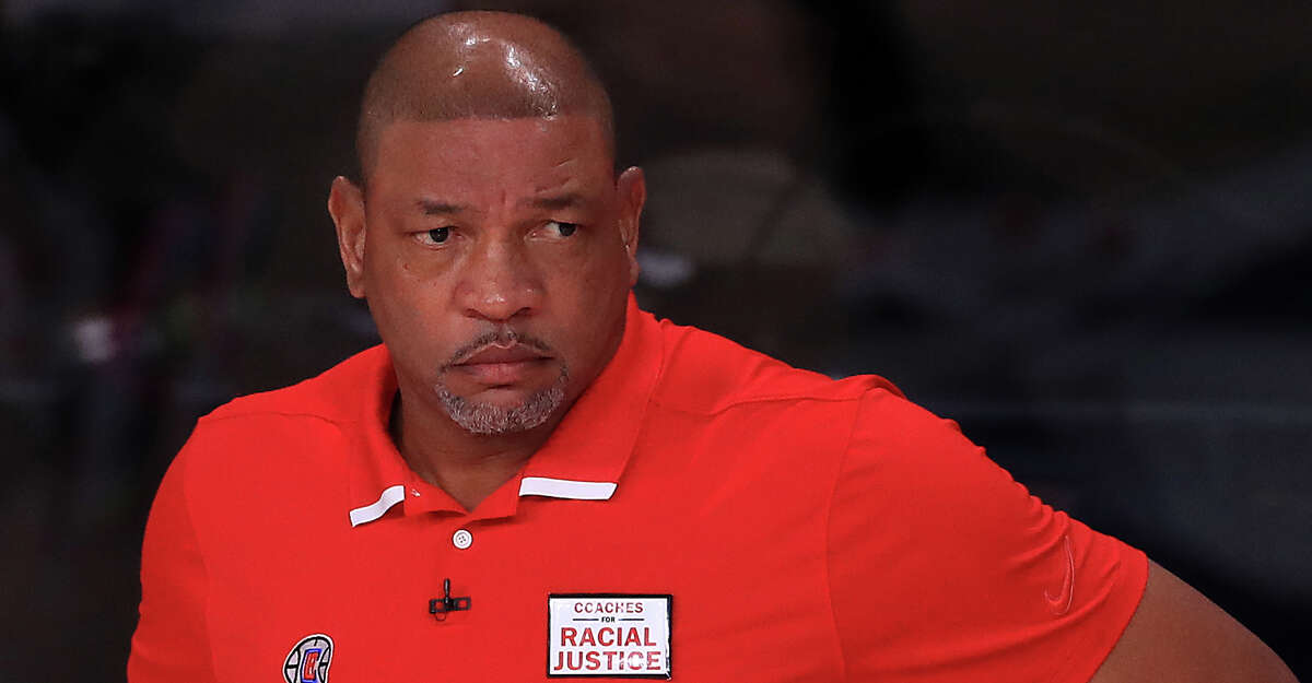 Doc Rivers of the LA Clippers during the first quarter against the Denver Nuggets in Game Six of the Western Conference Second Round during the 2020 NBA Playoffs at AdventHealth Arena at the ESPN Wide World Of Sports Complex on September 12, 2020 in Lake Buena Vista, Florida. (Photo by Michael Reaves/Getty Images)